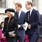 In September 2013, Camilla led the way for Harry and William at a requiem mass for the late Hugh van Cutsem in England.