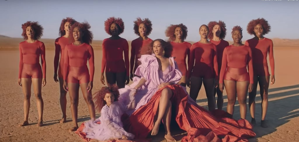 "Beyoncé's and Blue Ivy's Burgundy Hair in ""Spirit"" Music Video"