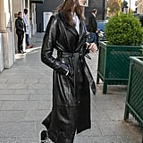 In Between Shows Wearing a Leather Coat