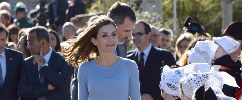 Queen Letizia Wearing Checked Trousers in Spain