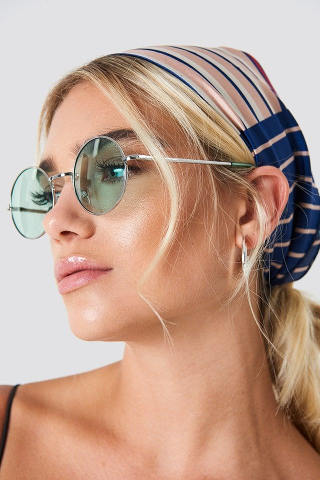 Na-kd Colored Round Metal Sunglasses Light Green