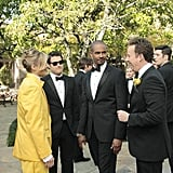 Eliza Coupe, Adam Pally, Damon Wayans Jr., and Stephen Guarino on Happy Endings. Photo copyright 2012 ABC, Inc.