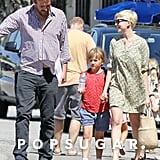 Michelle Williams and Jason Segel laughed with Matilda in LA.