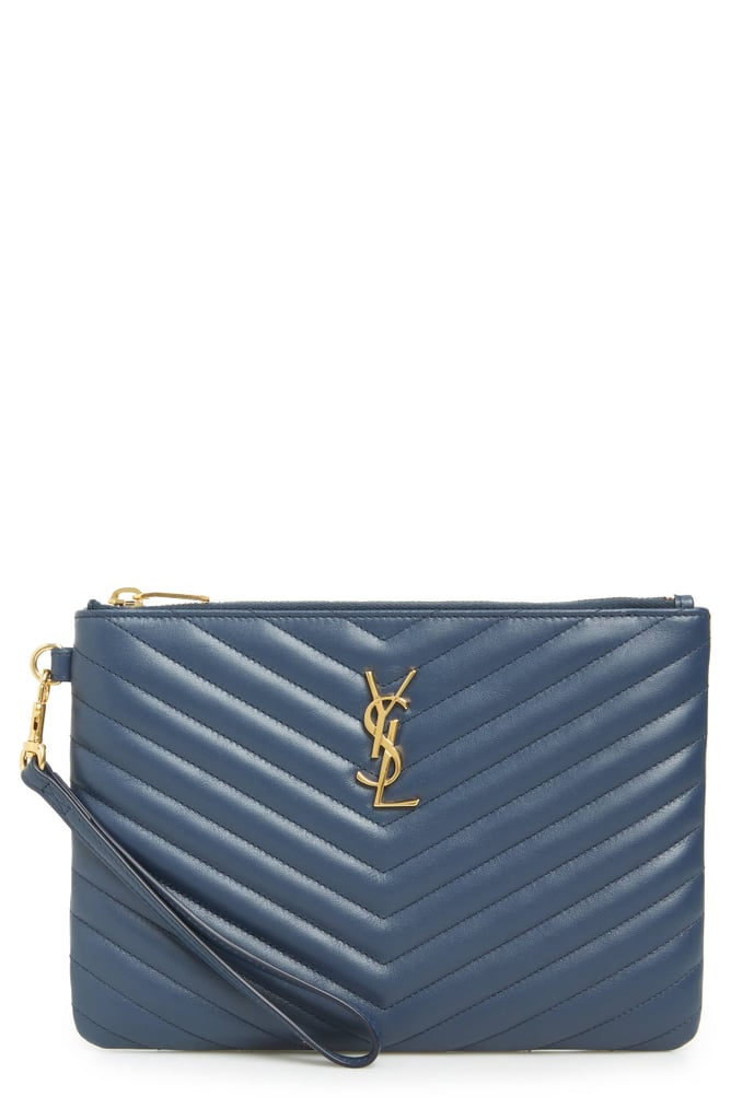 7932e4caa1cd Saint Laurent Small Monogram Print Leather Wristlet