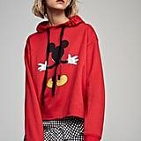 Dressywomen Stylish Mickey Mouse Print Red Hooded Sweatshirt