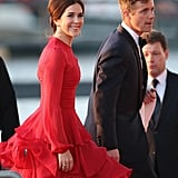 Mary looked vibrant in this tiered skirt gown by Jesper Høvring and Ruby Parure earrings to celebrate the Inauguration of King Willem Alexander of The Netherlands in April 2013.