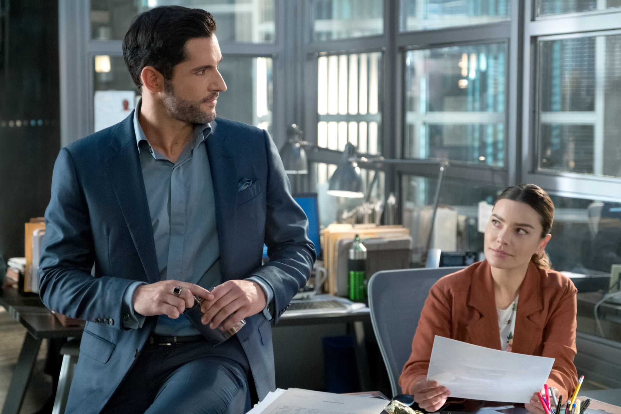 LUCIFER, from left: Tom Ellis, Lauren German, 'O, Ye of Little Faith, Father', (Season 4, ep. 403, aired May 8, 2019). photo: John P. Fleenor / Netflix / courtesy Everett Collection