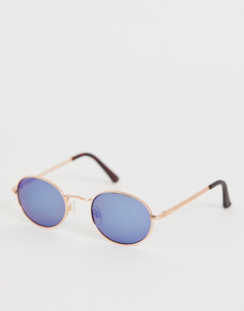 AJ Morgan Round Frame Sunglasses With Blue Tinted Lens