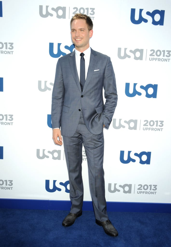 Patrick J. Adams kept it classic in a gray suit.