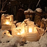 Leave these ice candles outside your home as porch decor. To make the ice, fill a bucket of water, with a smaller bucket inside, and leave it to freeze overnight. Then invert it and put a small candle inside.