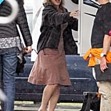 Kate Winslet arrived at her trailer on set.