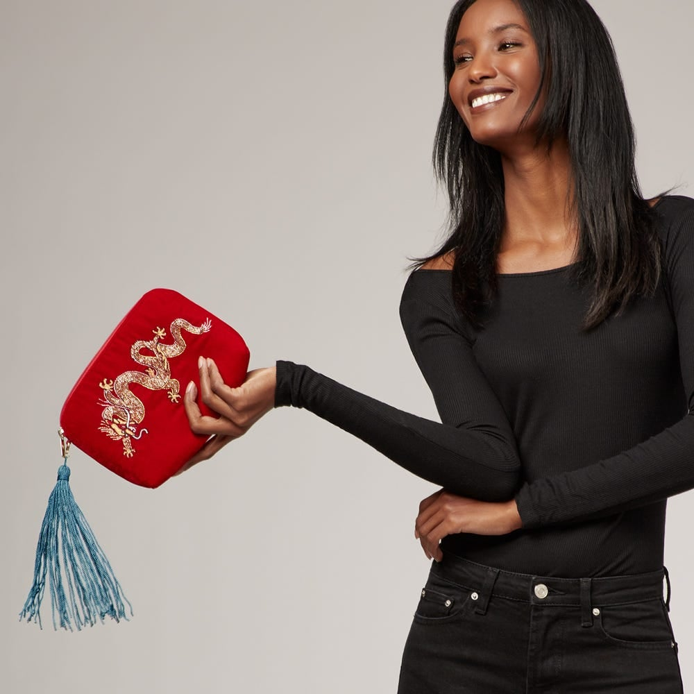 Mulan: The Met x From St Xavier Embellished Dragon Clutch