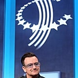 "During a discussion moderated by Bill Clinton, Bono spoke about government and corporate transparency. He said, ""I'm no cranky anti-corporate critic here. I implore the people in this room, from Exxon, from Chevron . . . You can't have it both ways. You can't give alms to the poor on one level and have your hands on their throats on another."""