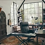 The house includes a studio with several keyboards, guitars, and microphones.