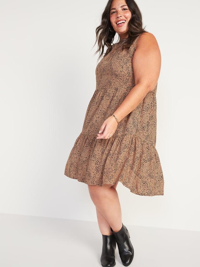 Printed Tiered Sleeveless Swing Dress