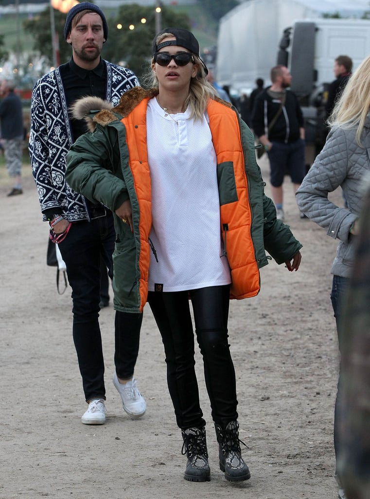 Rita Ora clearly wasn't willing to waste any time being chilly. The singer covered up her t-shirt and jeans with a puffy jacket.