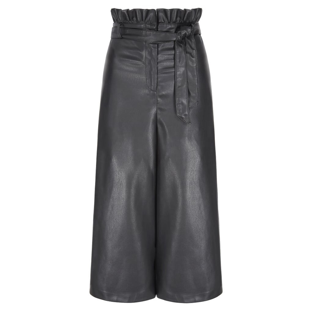 V by Very Faux Leather Belted Wide Leg Crop Trouser