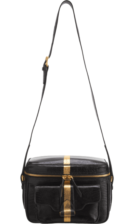 No doubt, you'll be the envy at every party with this Derek Lam Lizard Newton Camera Bag ($2,669, originally $4,450). The cool gold stripe and vintage silhouette make a truly unique piece that will garner compliments for years to come.