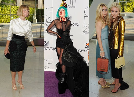 Pictures of Celebrity Arrivals at the 2011 CFDA Fashion Awards including Miranda Kerr, Mary-Kate and Ashley Olsen and Lady Gaga