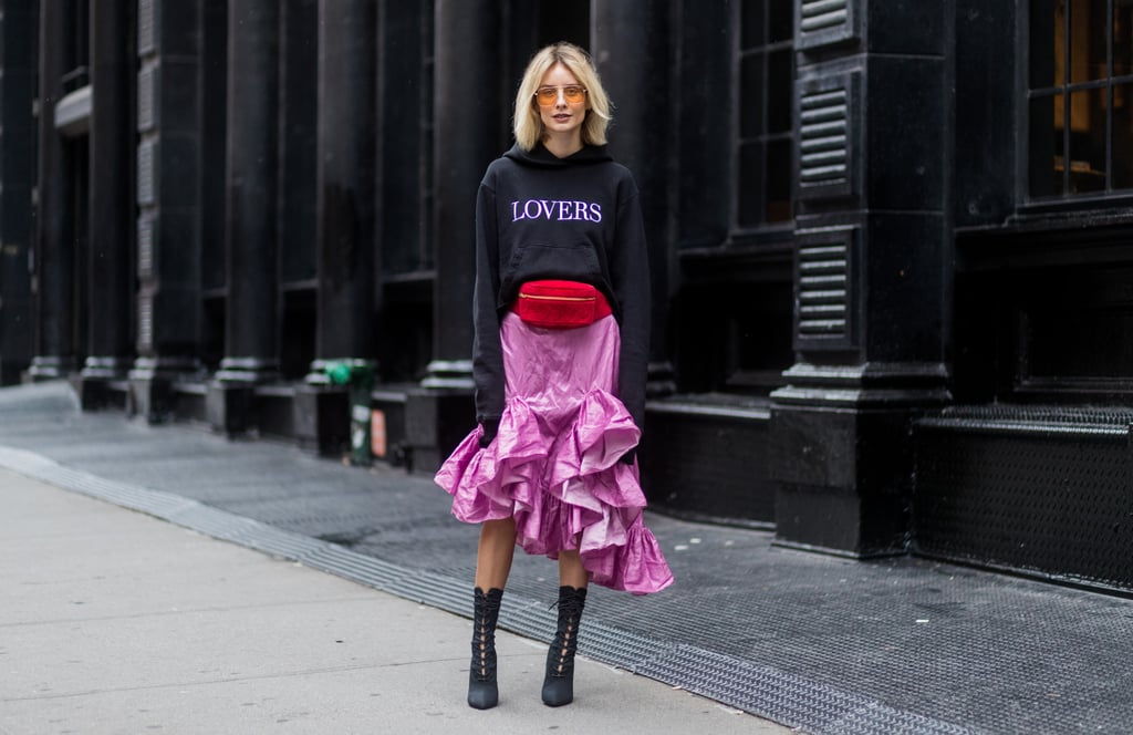 We love Lisa Hahnbück's unexpected red fanny pack that she cinched around her pink ruffled skirt. Talk about mastering the trend while also bringing back a nostalgic accessory.