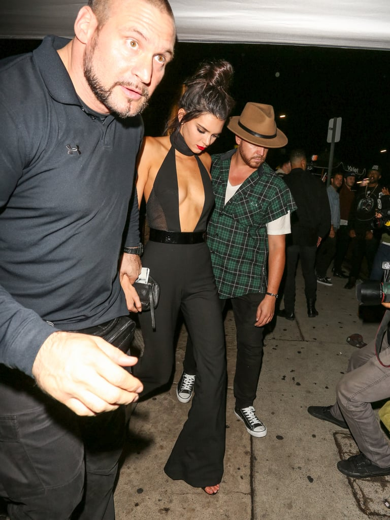 a7db0fe18826 Kendall celebrated her birthday in a plunging black jumpsuit ...