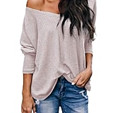 iGENJUN Casual V-Neck Off-Shoulder Batwing Sleeve Pullover Sweater