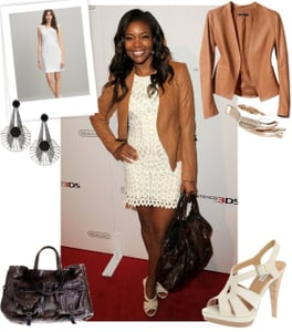 Gabrielle Union Wears Sea White Lace Dress and Theory Leather Jacket to Hollywood Fundraiser