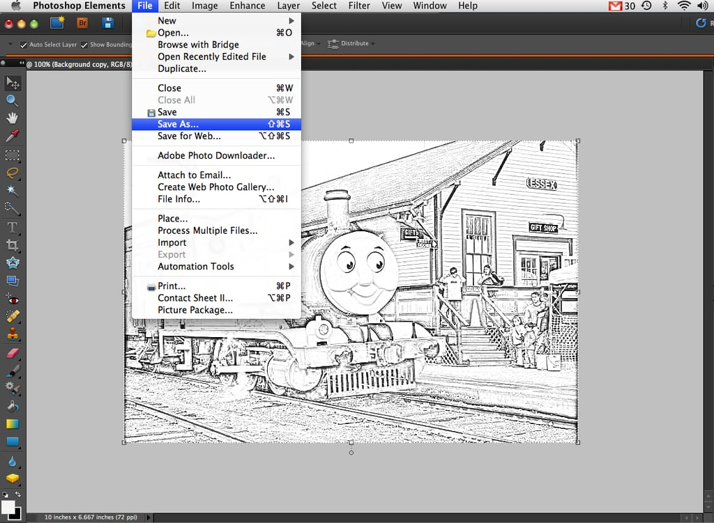 Line Art Converter Software : Save the sketch as a new file converting photographs into coloring