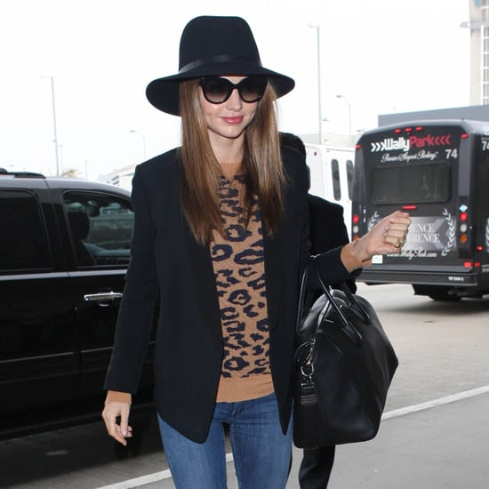 Miranda Kerr Wearing Leopard Sweater
