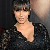 Kim relied on heavy fringe and pale pink lips at the Atlanta screening of Tyler Perry's Temptation: Confessions of a Marriage Counselor.