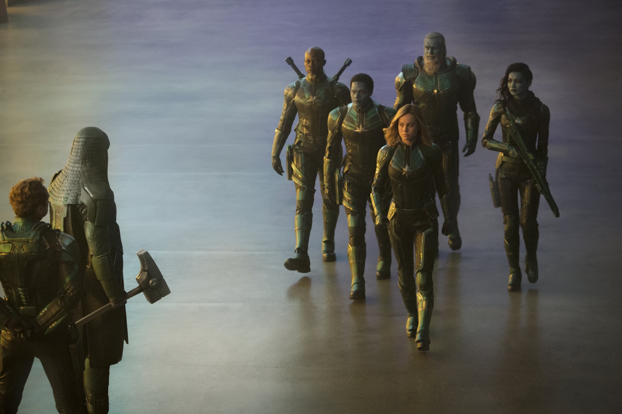 Marvel Studios' CAPTAIN MARVEL..L to R: Leader of Starforce (Jude Law), Ronan (Lee Pace), Korath (Djimon Hounsou), Att-Lass (Algenis Perez Soto), Carol Danvers/Captain Marvel (Brie Larson), Bron-Char (Rune Temte) and Minn-Erva (Gemma Chan)..Photo: Chuck Zlotnick..©Marvel Studios 2019