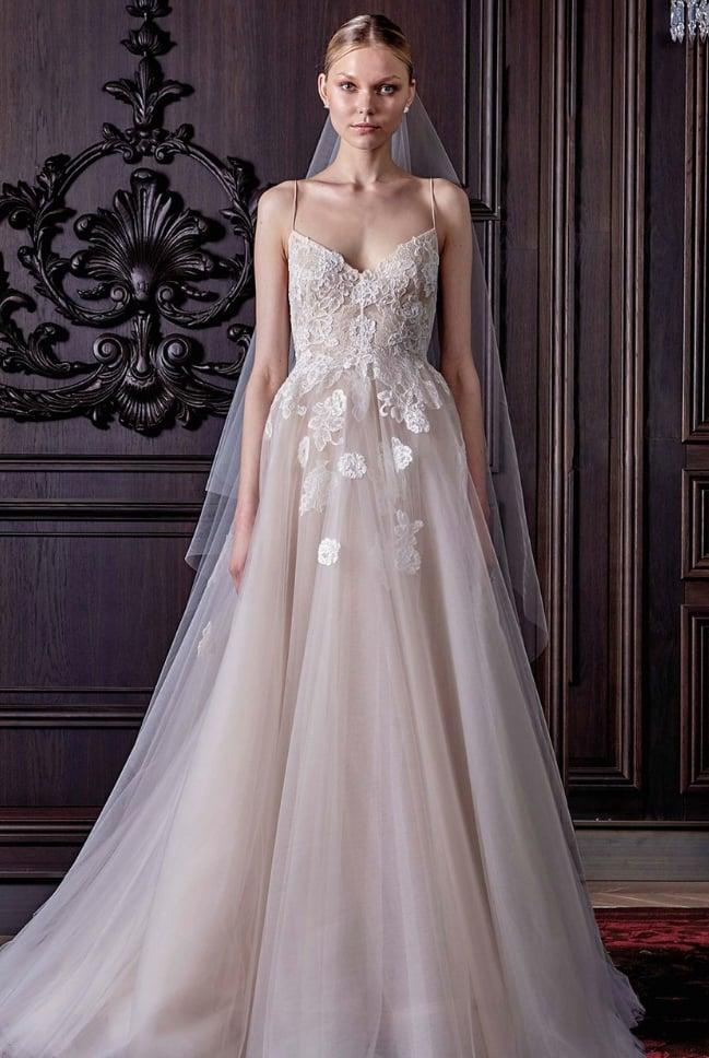 Monique Lhuillier 'Severine' Chantilly Lace & Tulle Gown  ($6,999)