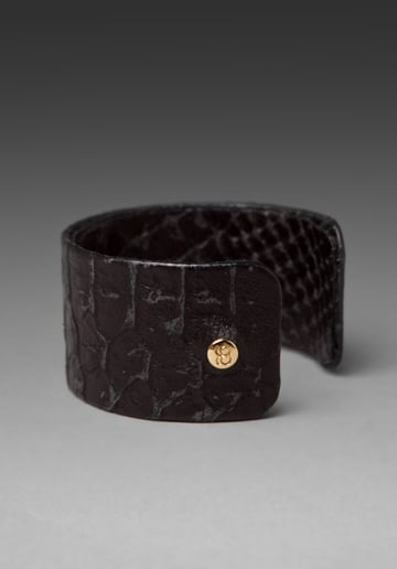 A sleek textural option for the minimalist.  Gorjana Ashton Leather Cuff ($57)