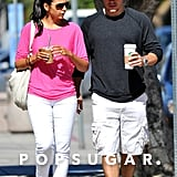 Matt and Luciana Damon chatted after grabbing coffee at Starbucks.