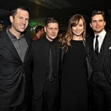 Eric Newman, Andrew Niccol, Olivia Wilde, and Matt Bomer posed for photographers.