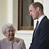 "The queen looks up to her grandson William, who measures 6'3""."