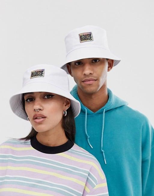 Reclaimed Vintage unisex branded bucket hat in white