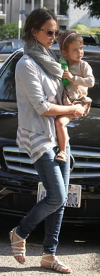 Jessica Alba Wears Gray and White Striped Shirt with Skinny Jeans in Marina del Rey