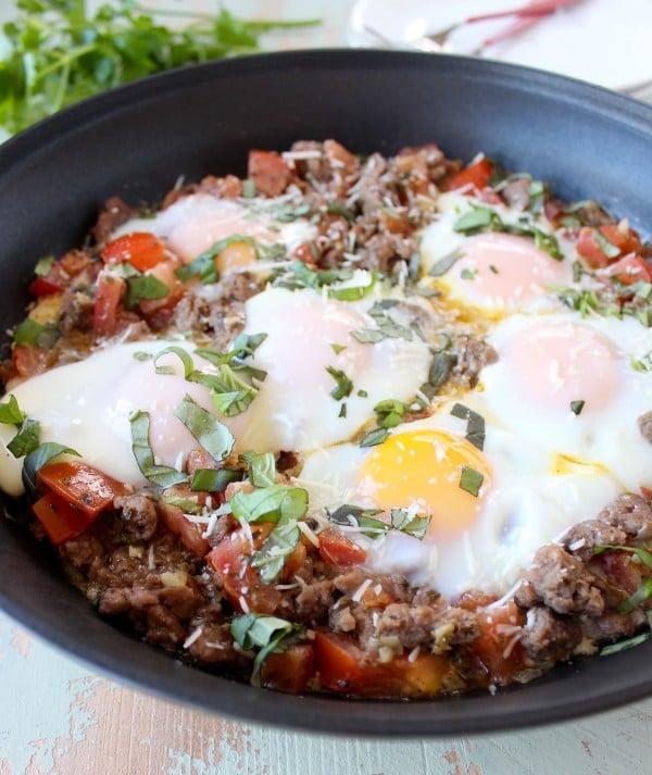 Italian Turkey and Egg Breakfast Skillet