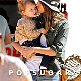 Jessica Alba gave Haven a sweet smooch.