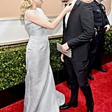 Diane Kruger helped Joshua Jackson with his bow tie before the show.