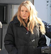 Photos of Blake Lively Wearing a Silver Trench Coat After Shooting Scenes on the NYC Set of Gossip Girl