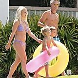 Britney Spears lounged in a bikini while spending time with fiancé Jason Trawick and her sons, Jayden James and Sean Preston, in Maui this July.