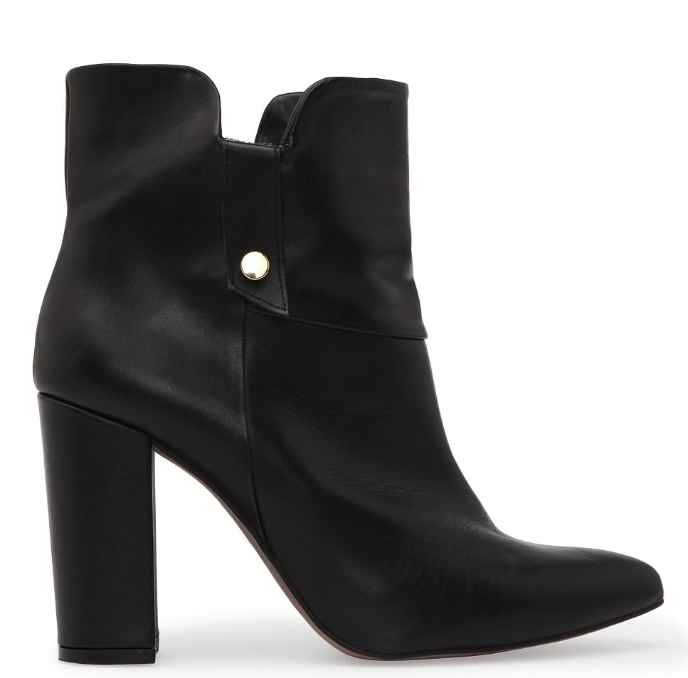 We love the structural shape of this black heeled ankle boot — it's a little tougher looking than your standard fare, but sophisticated nonetheless. Mango Leather Pointy Ankle Boots ($160)