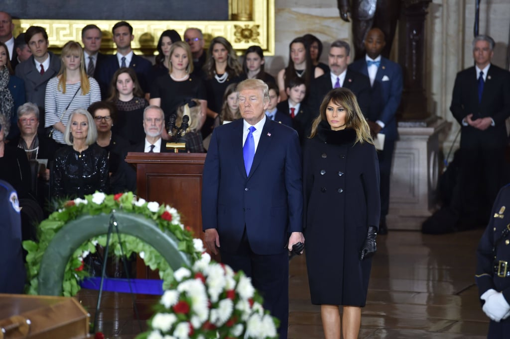 Melania Trump's Black Coat and Gloves at Memorial Service
