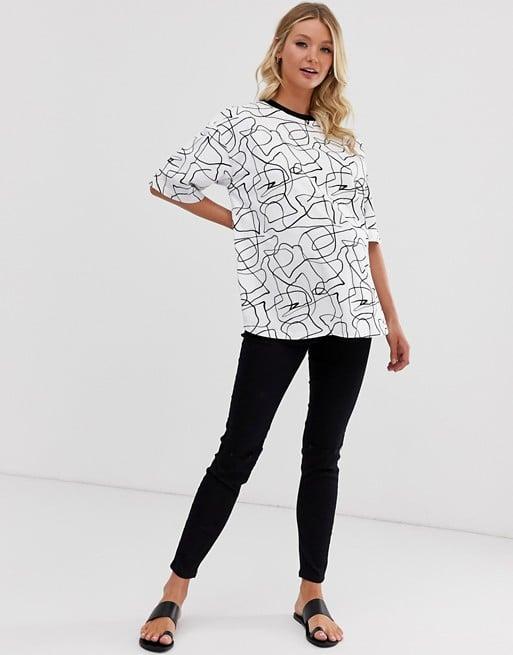 ASOS DESIGN Maternity oversized t-shirt in mono scribble print | ASOS