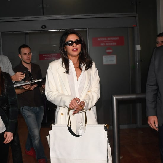 Priyanka Chopra's Big White Bag at Airport in Cannes
