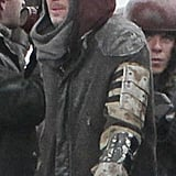 Brad Pitt managed to look chilly even in the middle of Summer.