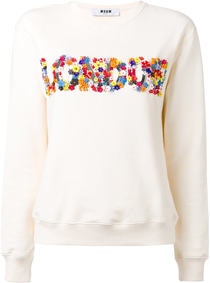 MSGM Flower Appliqué Sweatshirt