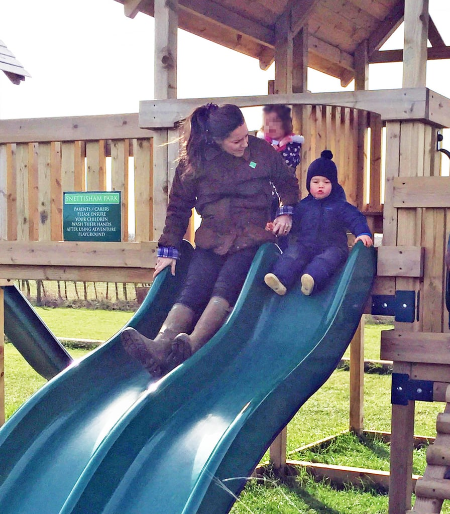 While waiting for the arrival of her second child, Kate Middleton made sure to get in some quality time with 1-year-old Prince George! The duchess brought her little one to Snettisham Park in the UK over Easter weekend, and photos from the afternoon show just how much the prince is growing up! The 329-acre working farm is located near Anmer Hall, the royal couple's new country home on the queen's Sandringham Estate in Norfolk. The grounds are home to lots of fun attractions, including a petting zoo — George got up close and personal with some baby goats during his visit and seemed to have a ton of fun jumping around on giant hay bales and going down a slide with his mom. Mostly, though, we can't get over how cute he looks in his little snowsuit. Kate and George's cute park day came shortly after the duchess made her final official appearances alongside Prince William at London's Stephen Lawrence Centre. Preparations for her labor have been under way at St Mary's Hospital, and though there's lots of speculation that she'll be having a baby girl, it likely won't be too much longer until we find out for sure. As you wait for the birth of the second royal baby, scroll through to see the adorable photos from Kate's afternoon of play with Prince George.